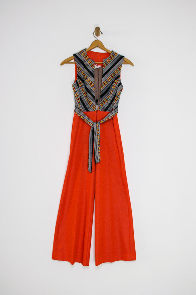 70's DEEP V EMBROIDERED JUMPSUIT / SMALL