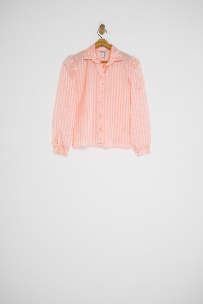 70's PINK PUFF SLEEVE BUTTON UP / SMALL