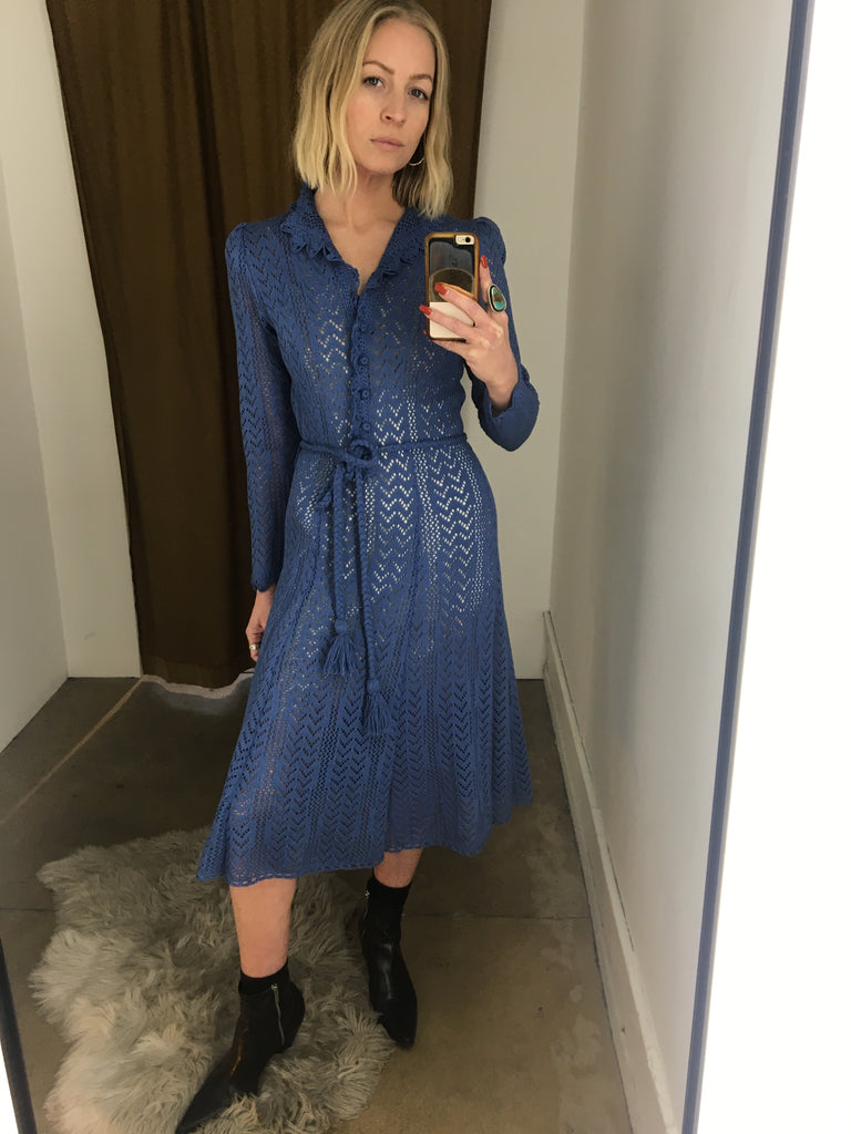 70's BLUE CROCHET DRESS / SMALL