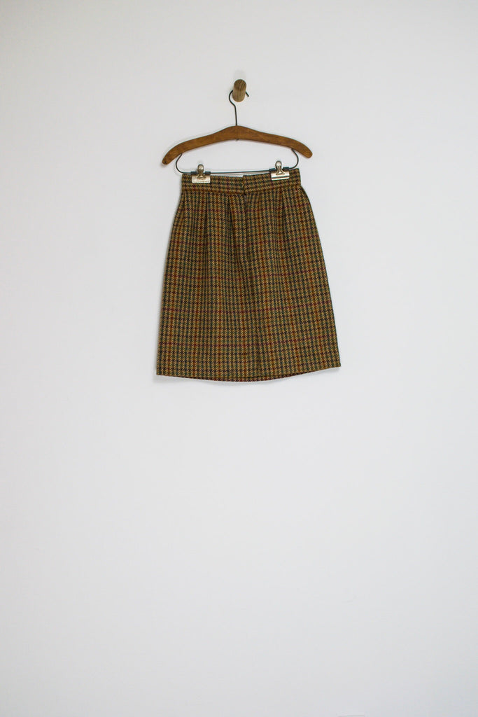 60's WOOL HOUNDSTOOTH SKIRT / 26