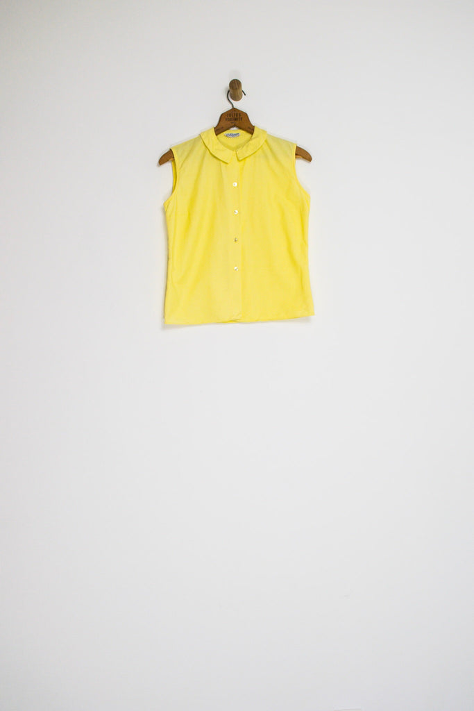 50's CANARY YELLOW BLOUSE WITH COLLAR / EXTRA SMALL