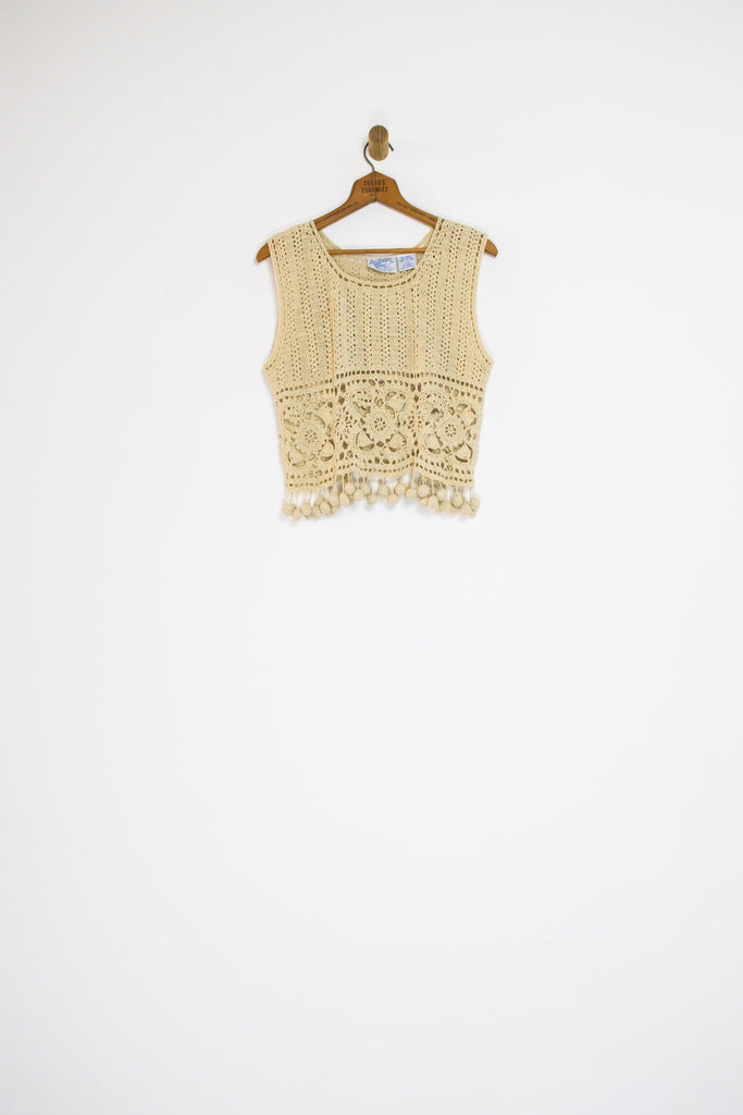 90's CROCHET POM POM TOP / MEDIUM