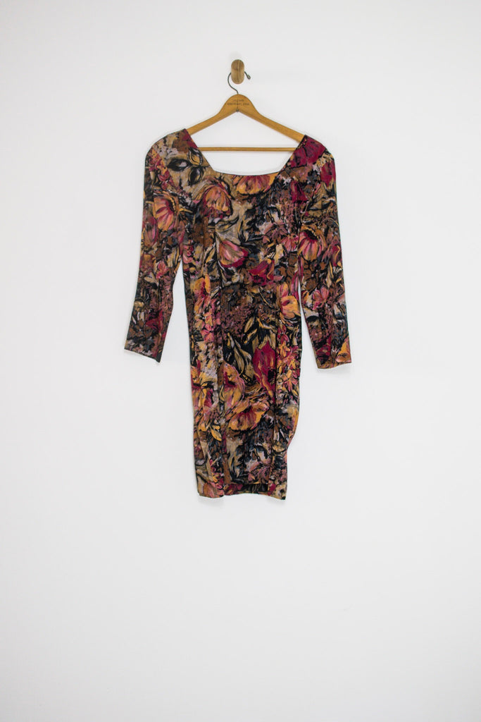 80's DARK FLORAL DRESS / MEDIUM