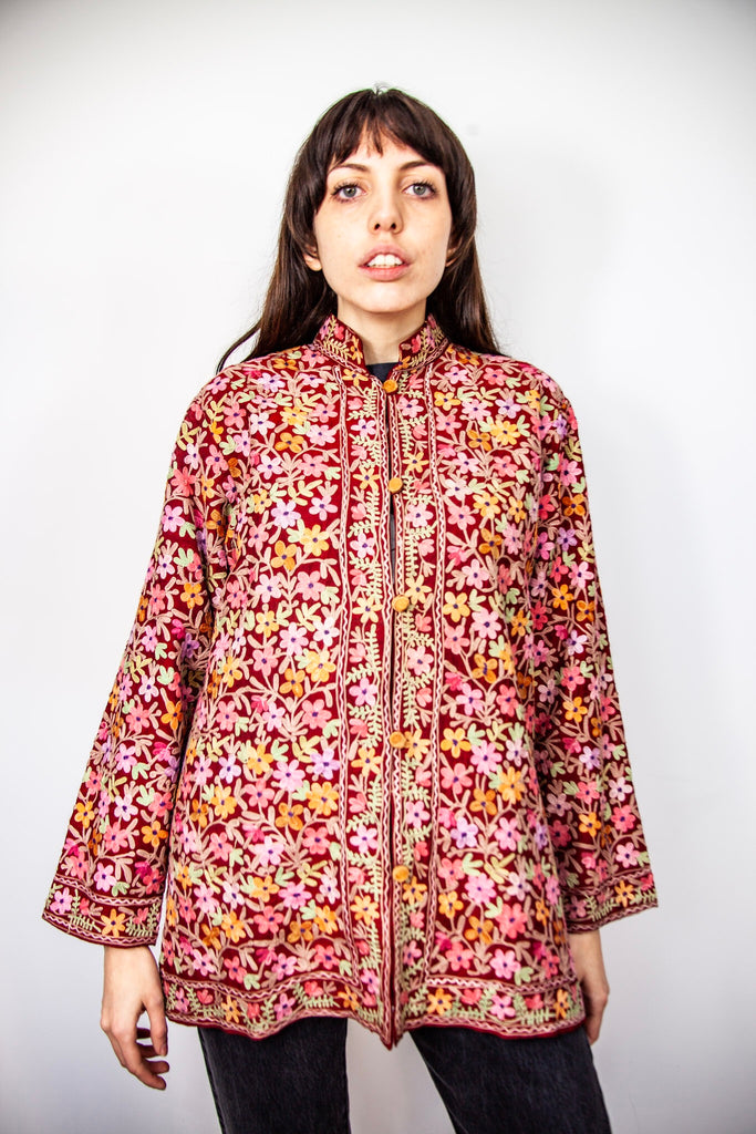 70's FLORAL EMBROIDERED JACKET / MEDIUM