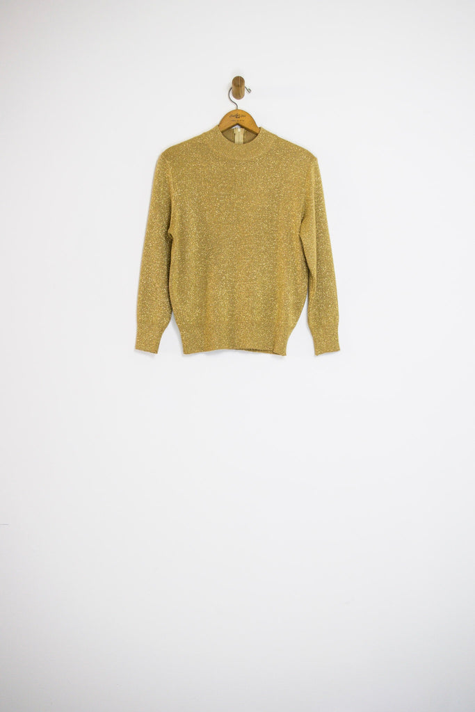 80's GOLD MOCK NECK SWEATER / SMALL