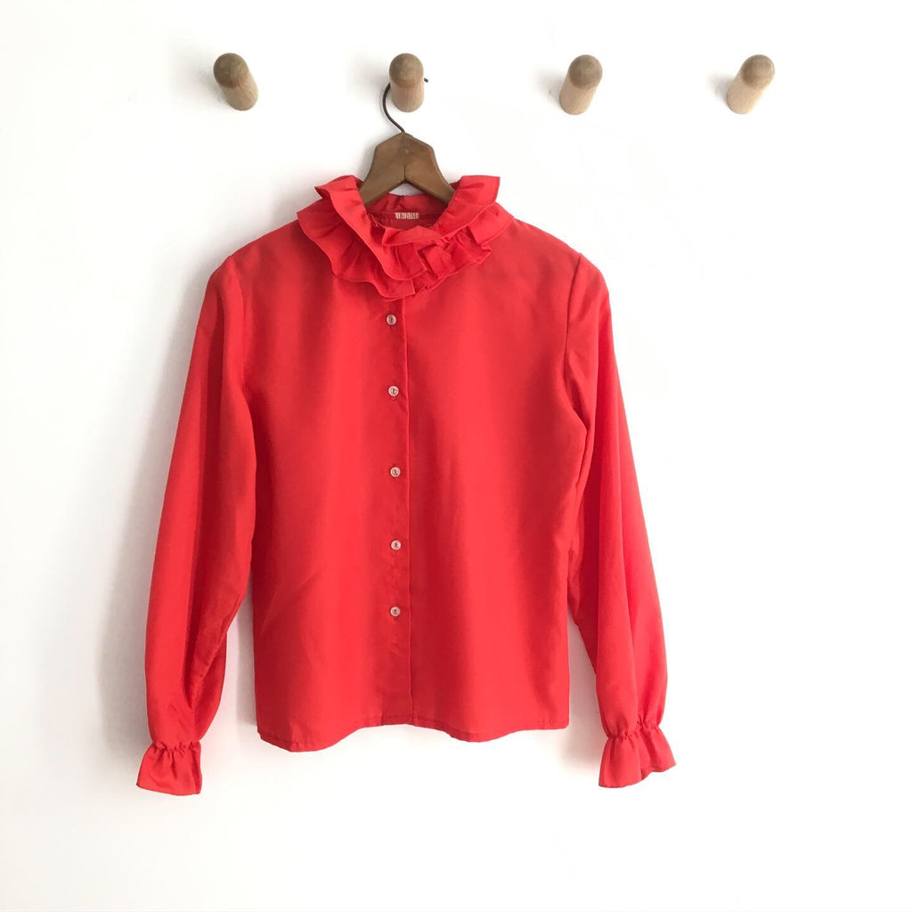 1970's RED RUFFLED BUTTON UP / MEDIUM