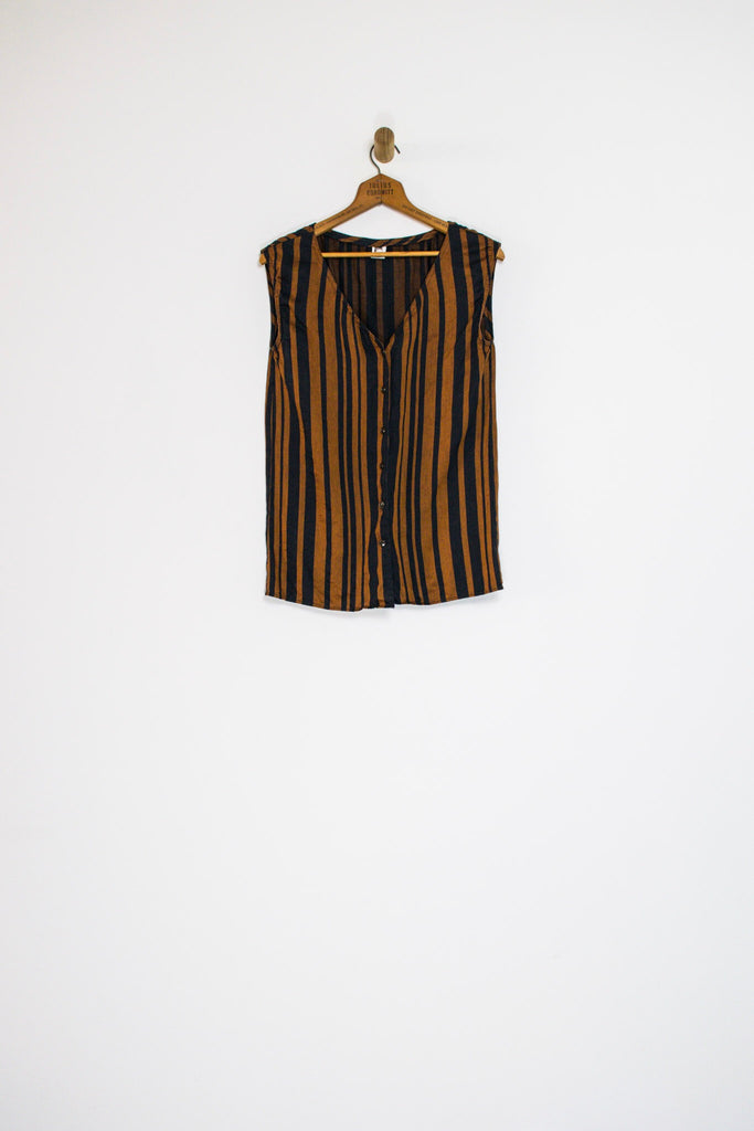 90's ANNE KLEIN STRIPED BUTTON TANK / SMALL