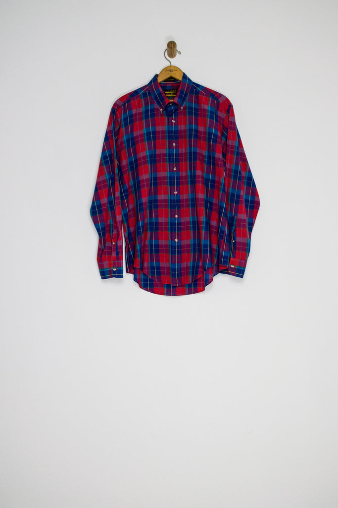 90's PLAID BUTTON UP / LARGE