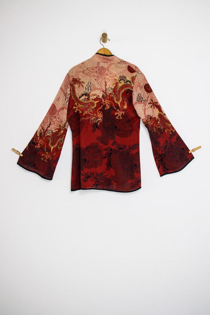 4822c8c8 90's RED SILK DRAGON KIMONO / LARGE | OldGoldBoutique