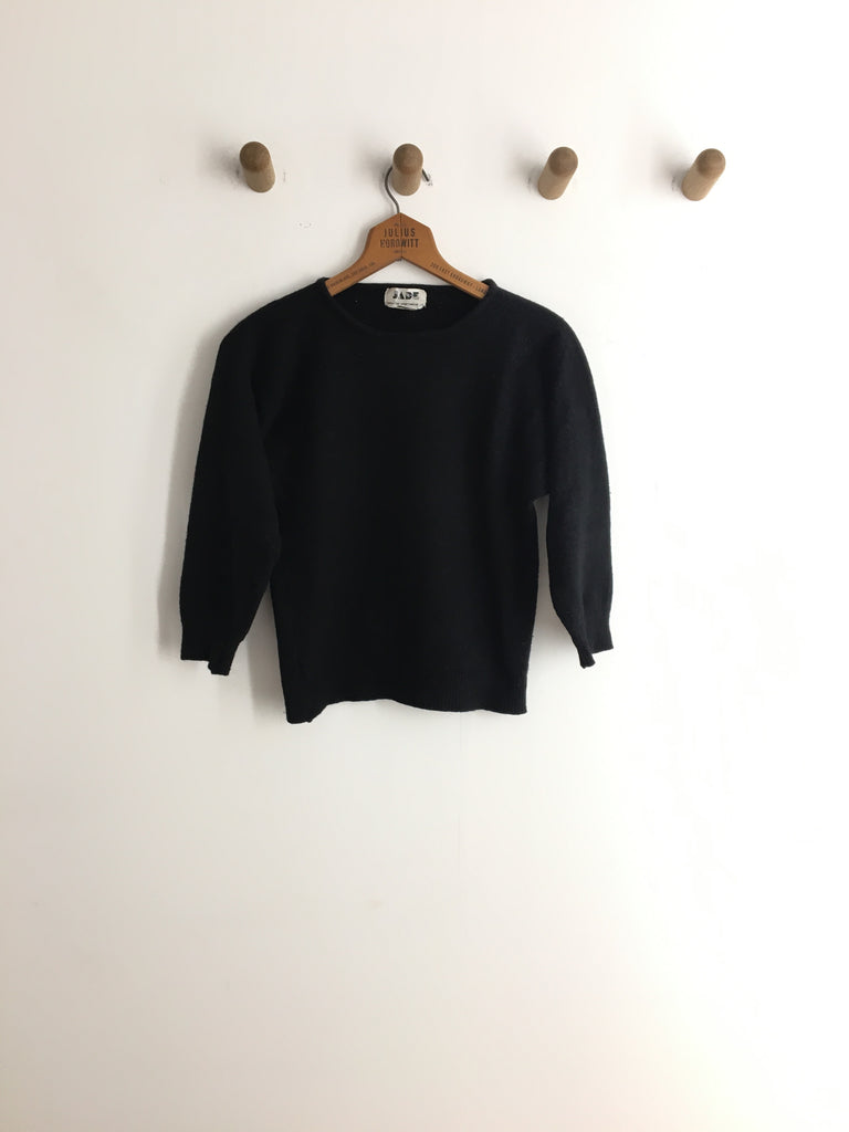 70's  BLACK ANGORA SWEATER / EXTRA SMALL