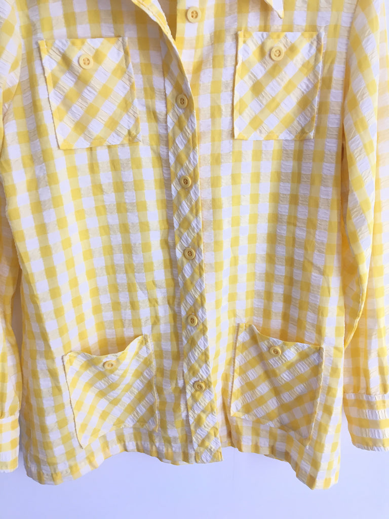 1970's GINGHAM JACKET/TOP / MEDIUM