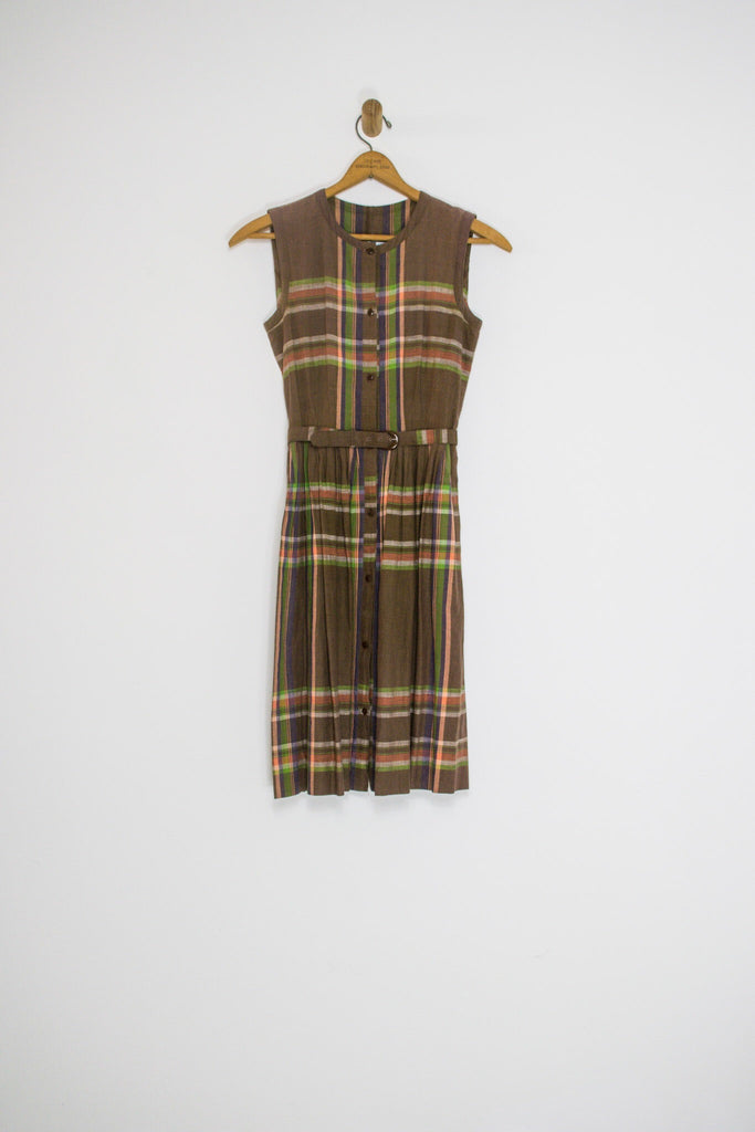 70's JAPANESE PLAID DRESS / SMALL