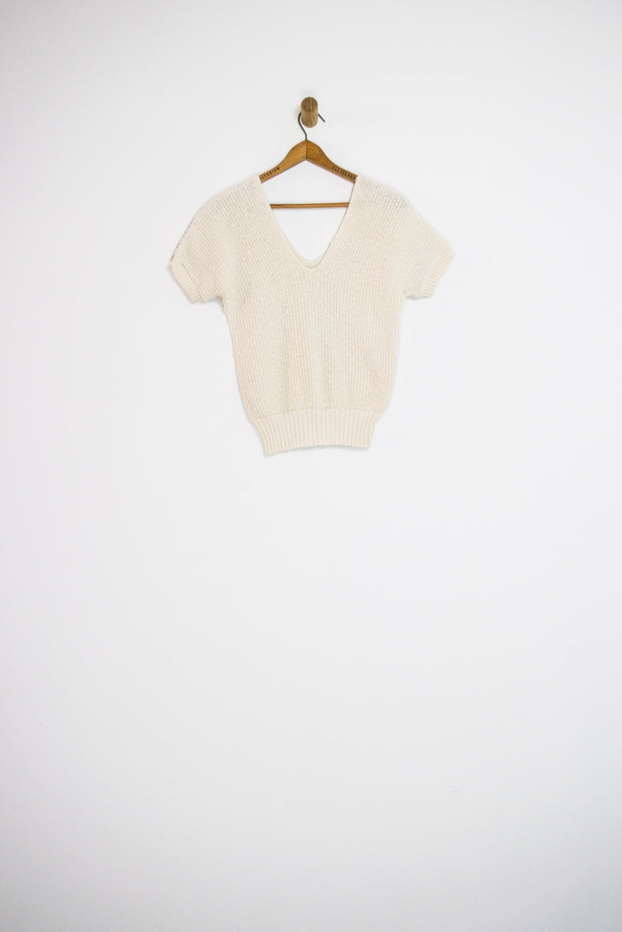 80's WHITE KNIT TOP / EXTRA SMALL