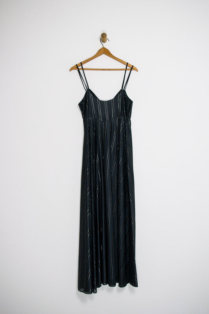 70's BLACK STRIPED NIGHTIE / MEDIUM