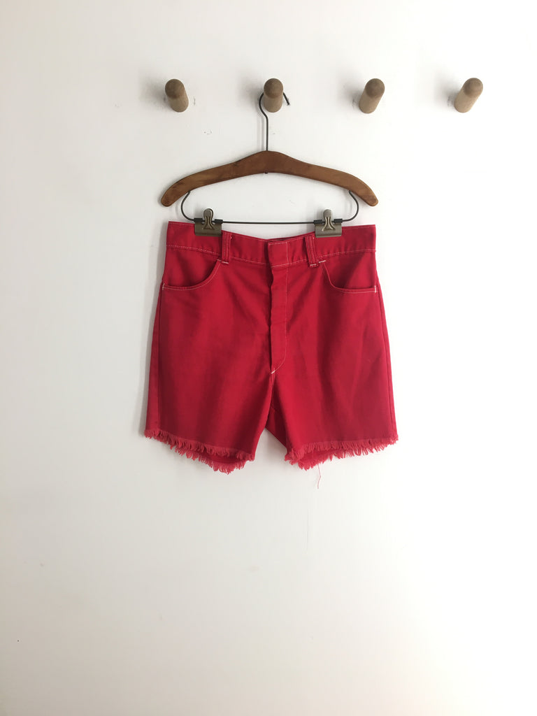 1970's RED DENIM SHORTS / 32