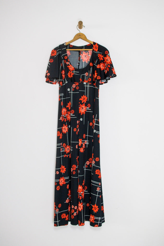70's BLACK FLORAL MAXI DRESS / MEDIUM
