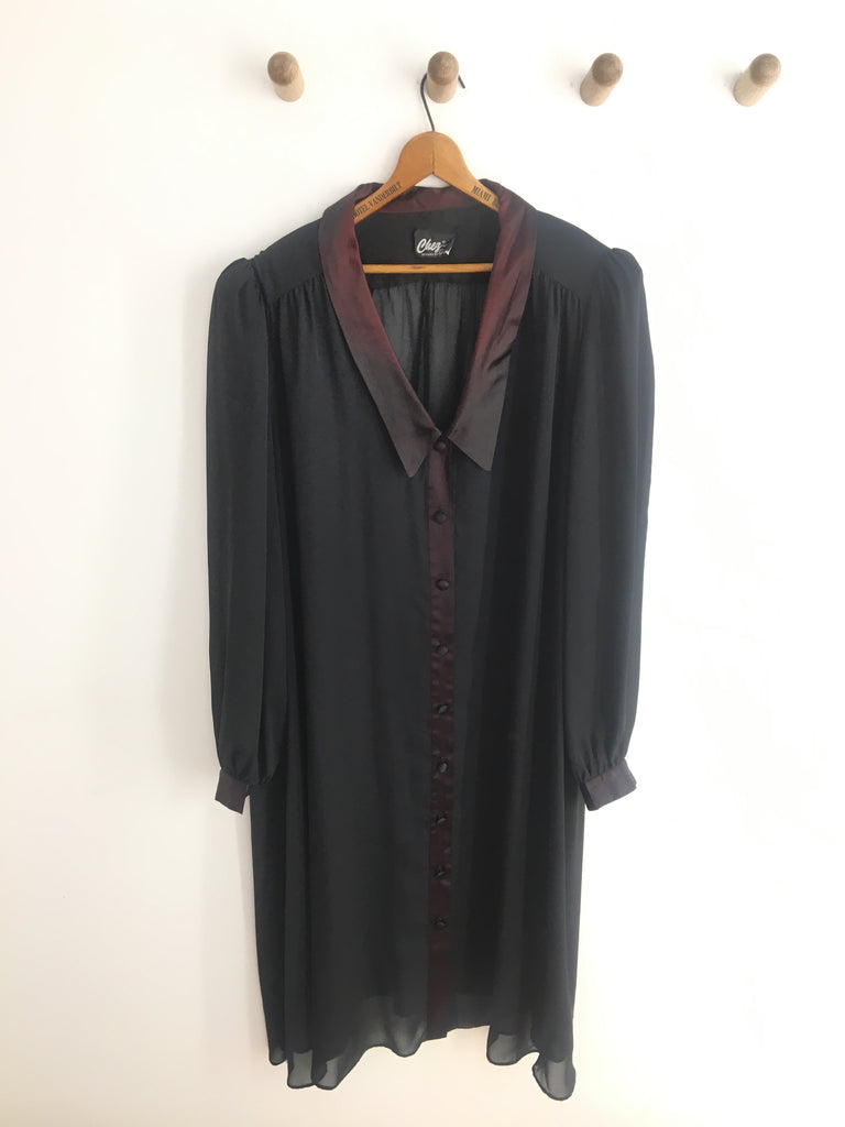 70's BLACK SHEER DUSTER / EXTRA LARGE