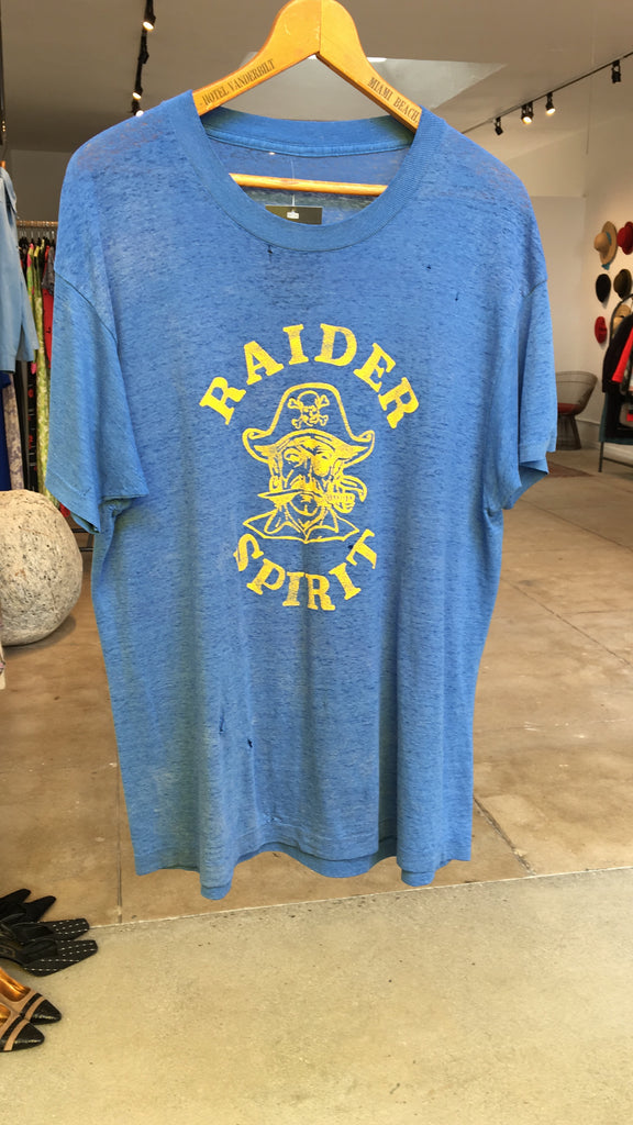 70's RAIDER SPIRIT THREADBARE TEE / LARGE