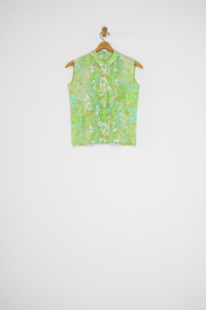 1960's PASTEL FLORAL PLEATED TOP / SMALL