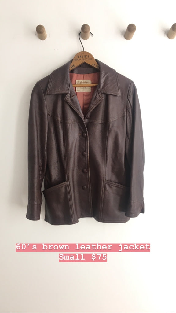 1960's BROWN LEATHER JACKET / SMALL