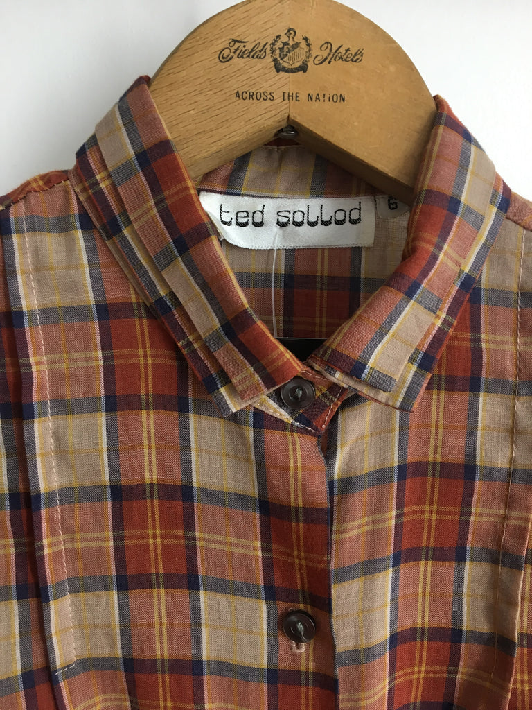 60's PLAID PUFF SLEEVE BUTTON UP / SMALL