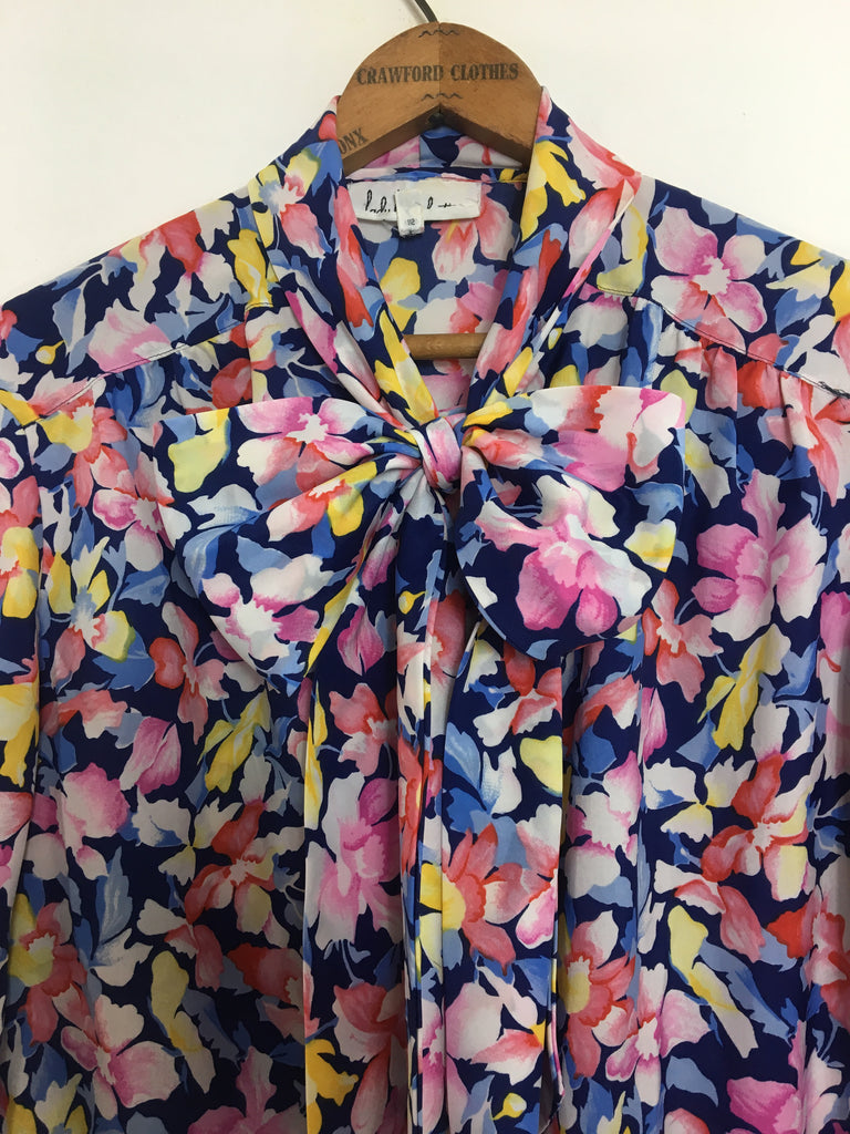 70's FLORAL PUSSY BOW BLOUSE / MEDIUM
