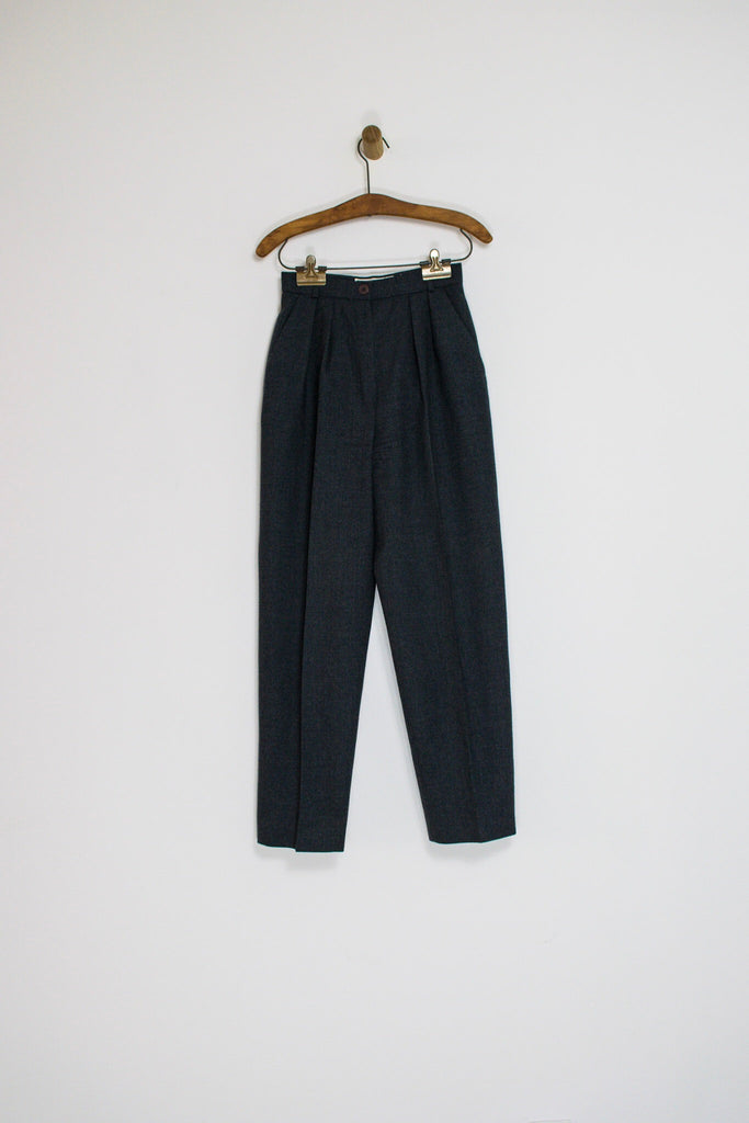80's GREY WOOL TROUSERS / 25