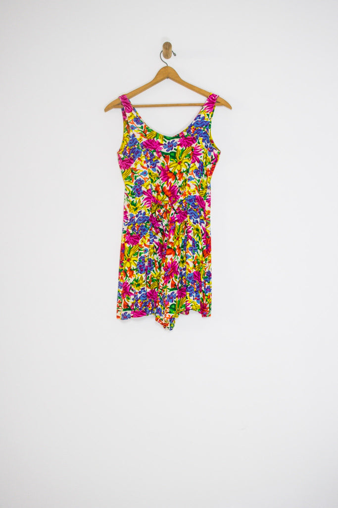 90's BRIGHT FLORAL ROMPER / MEDIUM