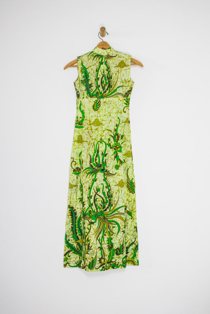 60's GREEN PRINTED MAXI WITH GOLD VEINS / SMALL