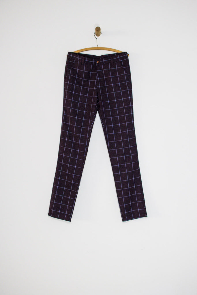 90's PURPLE CHECKERED TROUSERS / 32