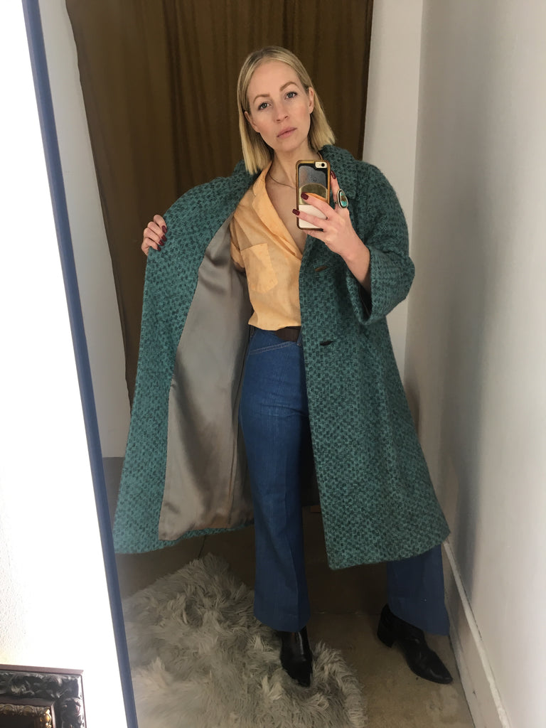 50's/60's TEAL TWEED COAT / MEDIUM