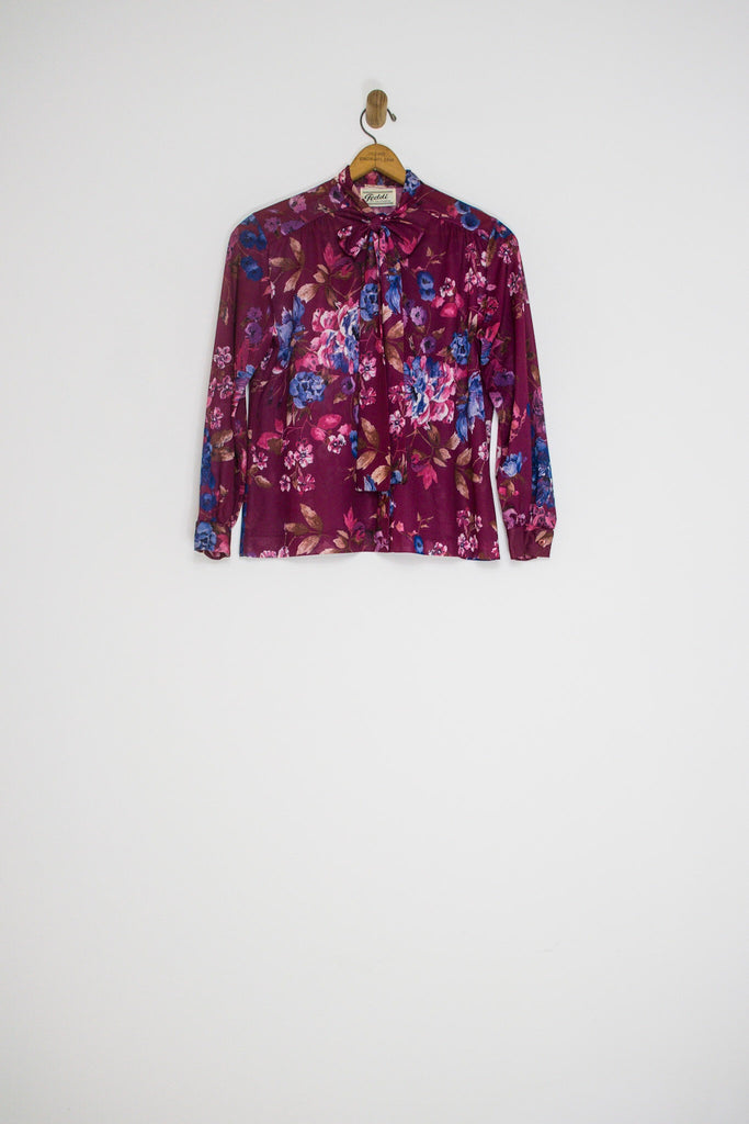 70's FLORAL PUSSY BOW BUTTON UP / MEDIUM