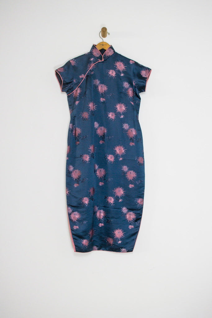 60's BLUE AND PINK CHEONGSAM / LARGE