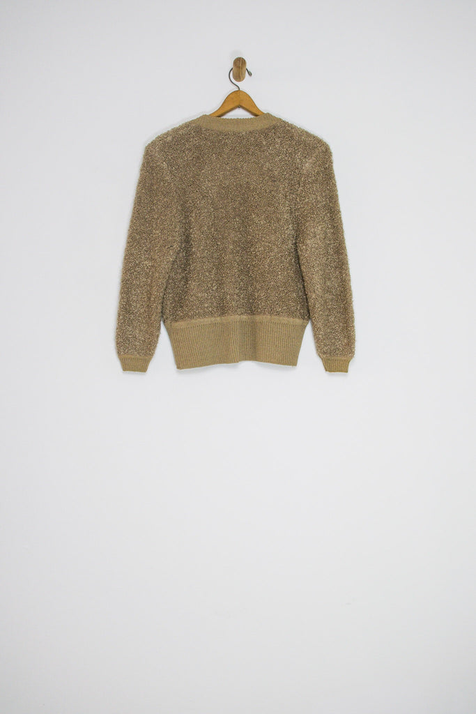 80's BOUCLE KNIT CARDIGAN / MEDIUM