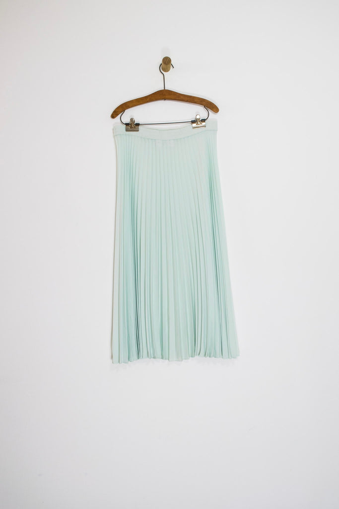 90's MINT PLEATED MIDI SKIRT / LARGE