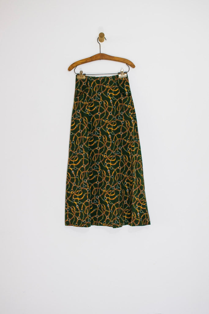 90's CHAIN PRINT MIDI SKIRT / SMALL