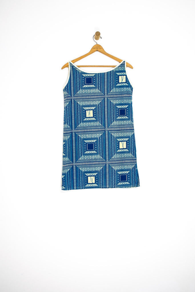 60's BATIK SHIFT DRESS / LARGE