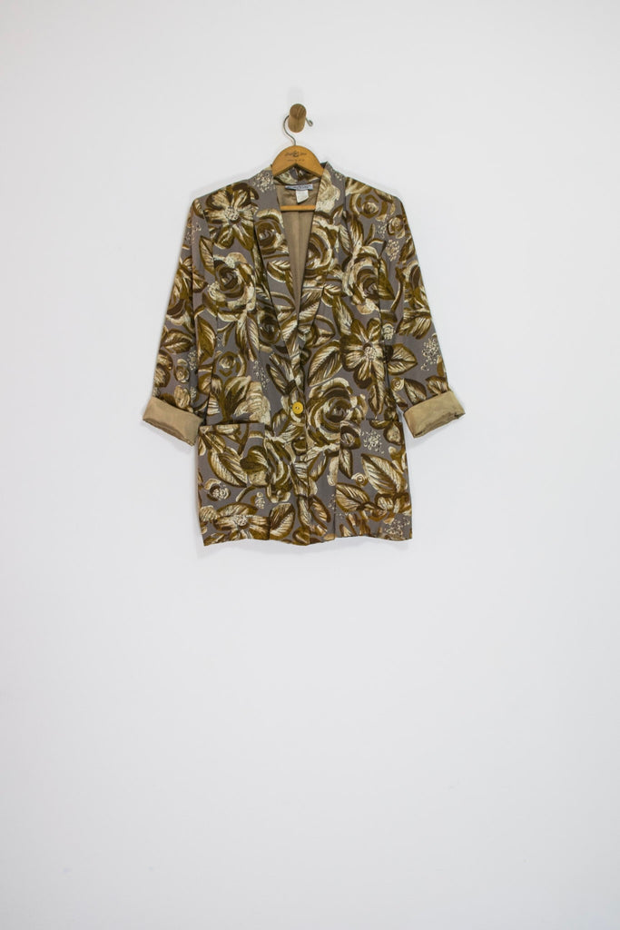 80's BROWN FLORAL BLAZER / MEDIUM