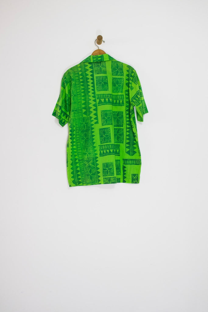 80's GREEN TIKI BUTTON UP / LARGE