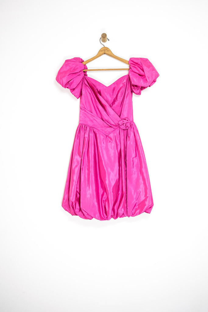 80's PUFF SLEEVE PARTY DRESS / MEDIUM