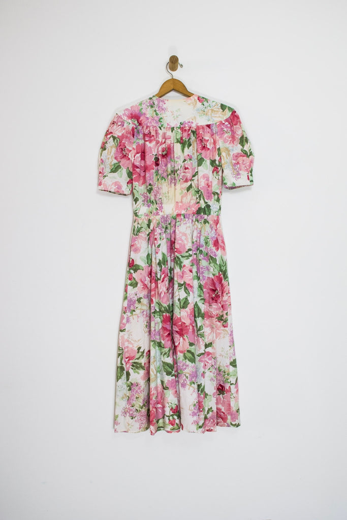 80's PUFF SLEEVE FLORAL DRESS / MEDIUM