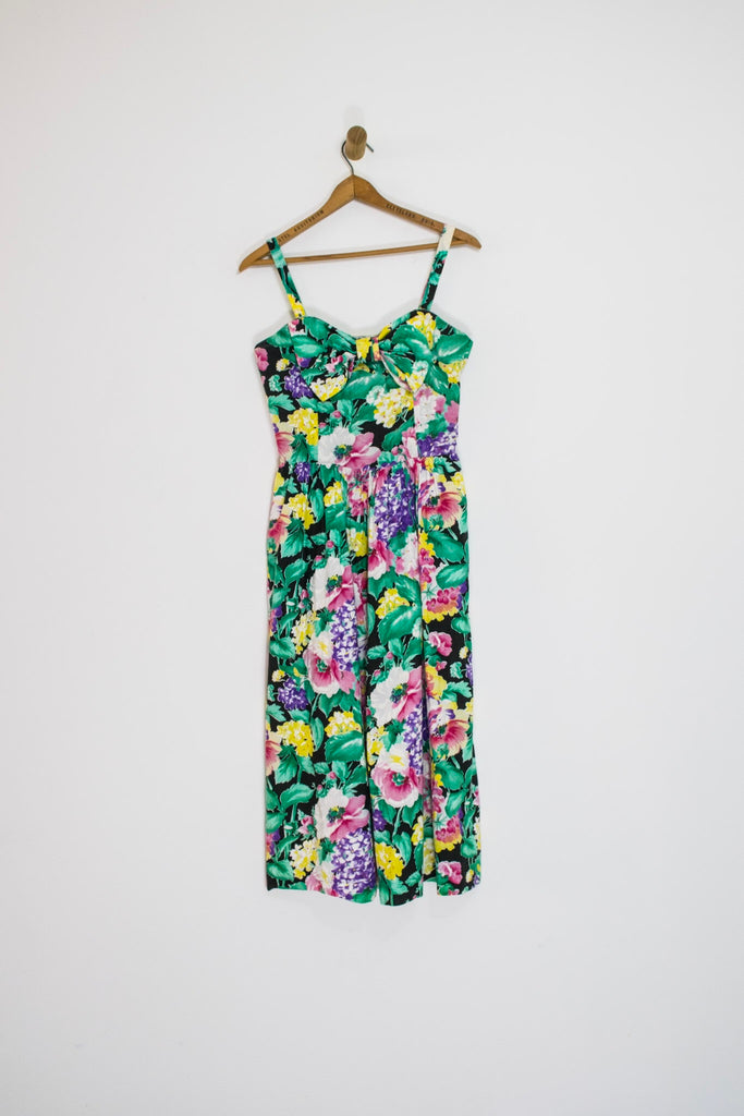 1980's FLORAL BOW DRESS / SMALL