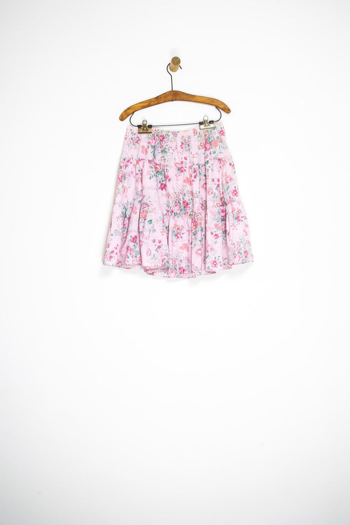 80's FLORAL TIERED SKIRT / MEDIUM