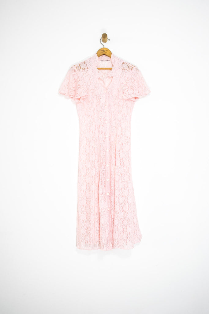 90's PINK LACE DRESS / MEDIUM