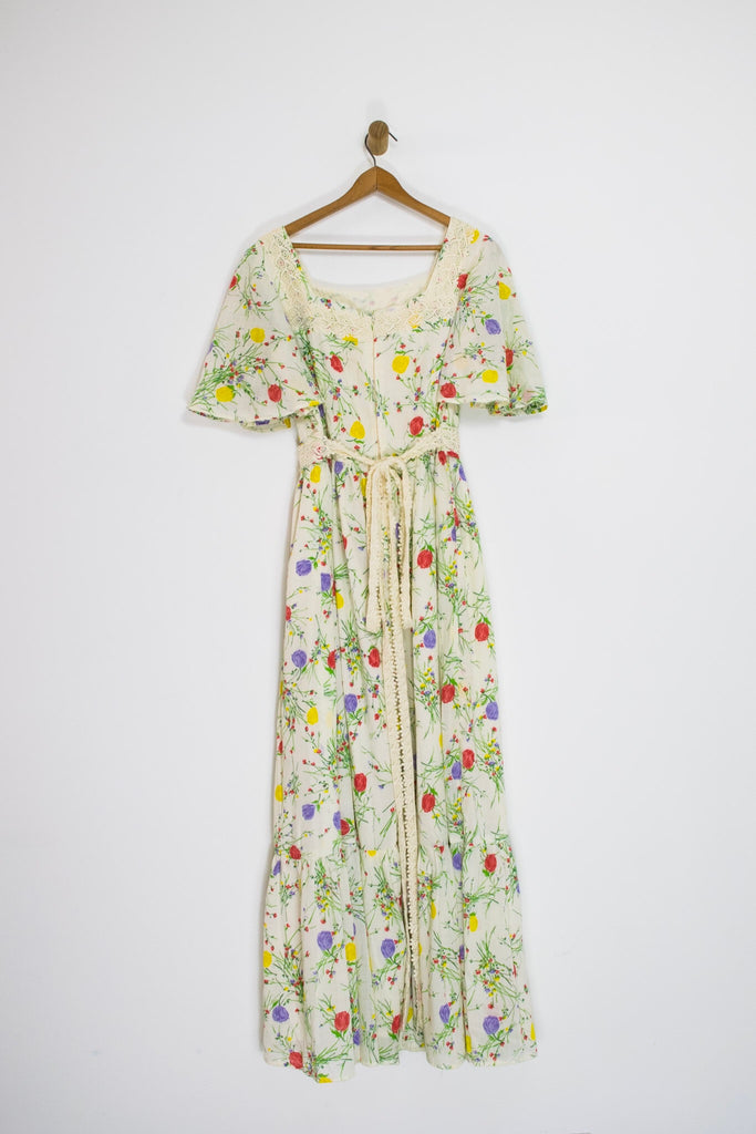 60's FLORAL AND LACE PRAIRIE MAXI / LARGE