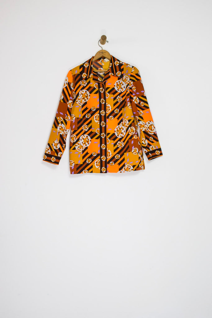 70's CHRYSANTHEMUM BUTTON UP / MEDIUM