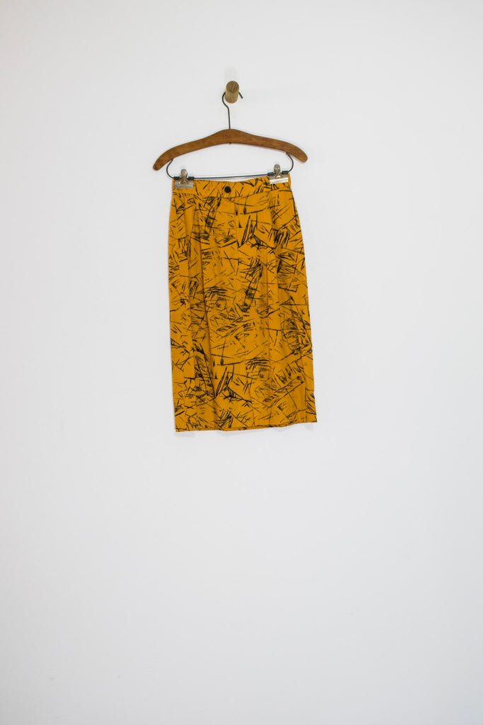 80's CACHAREL MUSTARD SKIRT SUIT / SMALL
