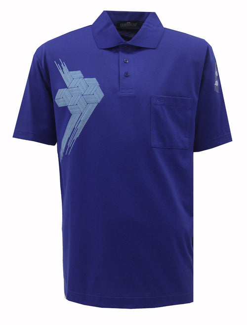 Playera Polo DryTouch Azul Estampada
