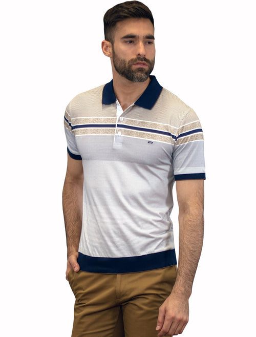 Playera Polo Azul / Beige