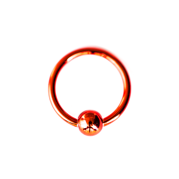 RED STEEL BALL CAPTIVE RING 16 GAUGE